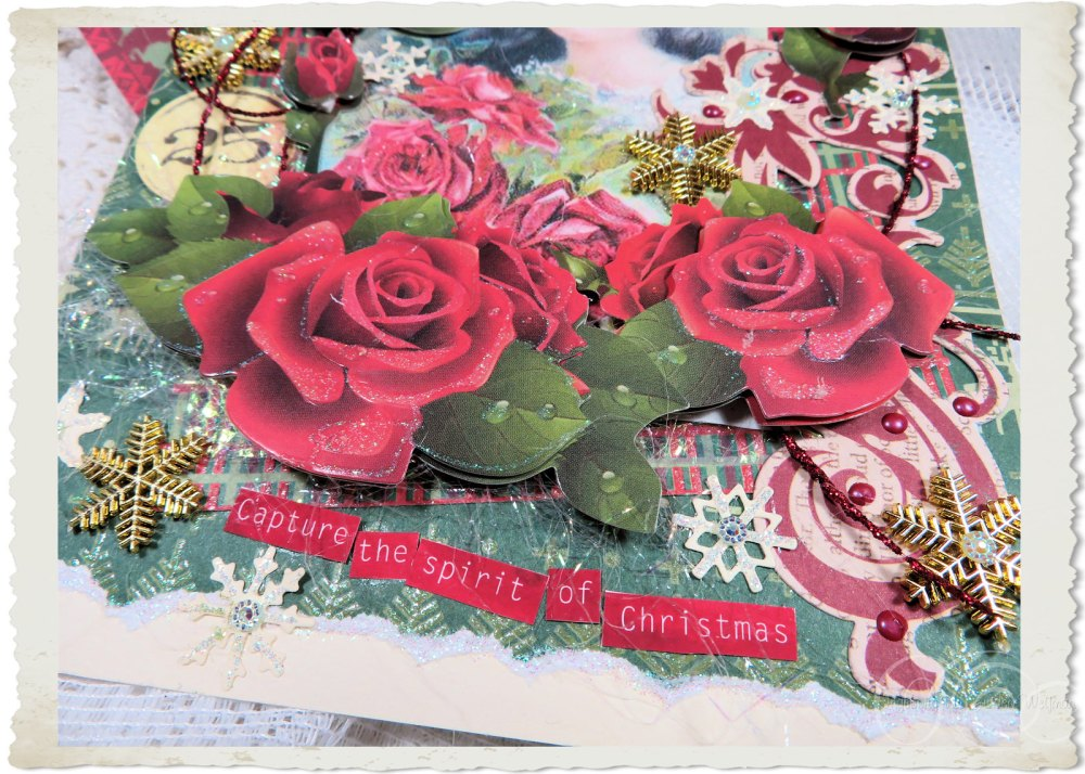 Details of red roses and wordart for Christmas