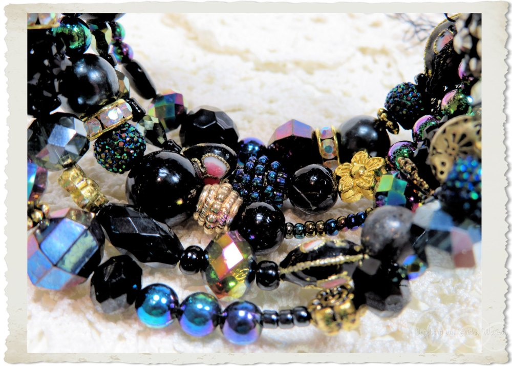 bling bling black and AB gold beads
