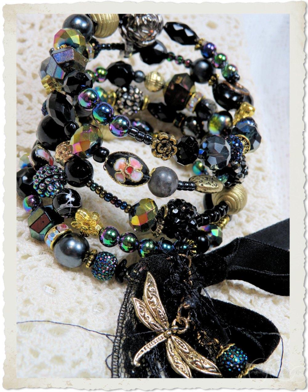 Black gold beaded memory wire bracelet