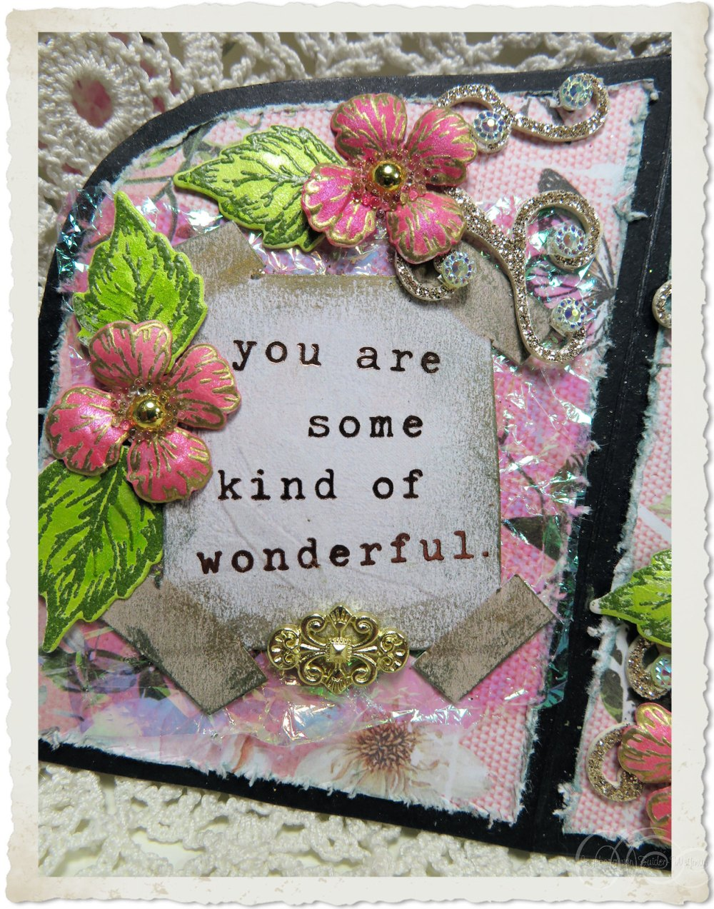 Quote on handmade Marie card with Oakberry Lane flowers from Heartfelt Creations