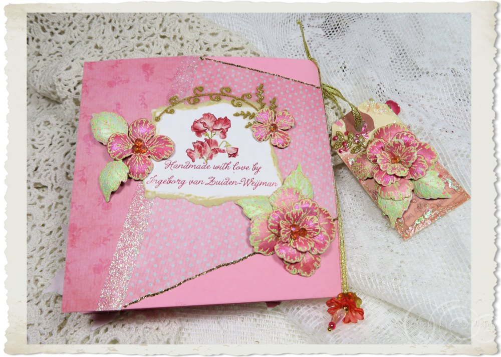 Backside of handmade card with Heartfelt Creations flowers by Ingeborg van Zuiden