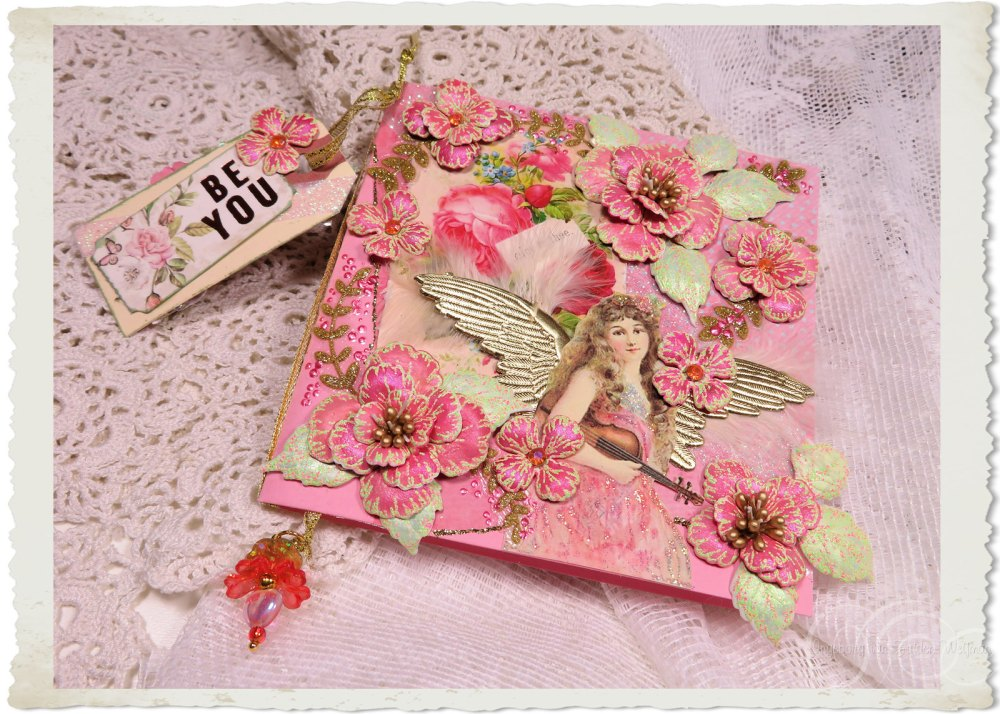 Handmade Angelic card with Oakberry Lane flowers by Ingeborg van Zuiden