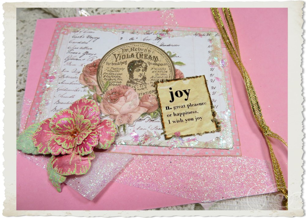 Details of inside of card with iridescent glitter and Oakberry Lane flower