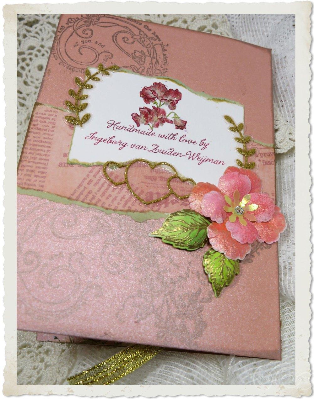 Backside of handmade pink card