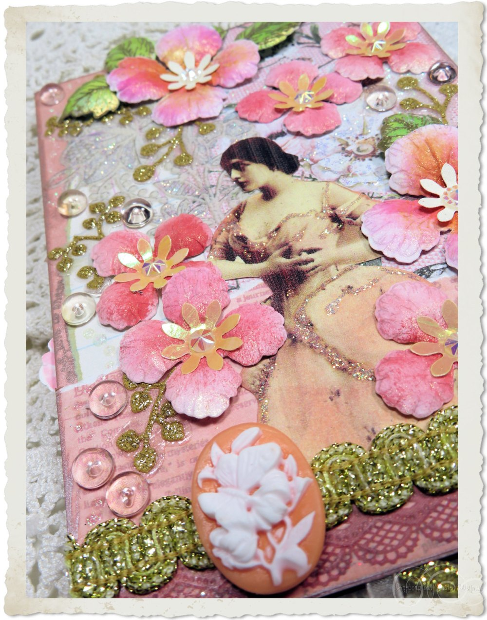 Details of handmade card with vintage lady