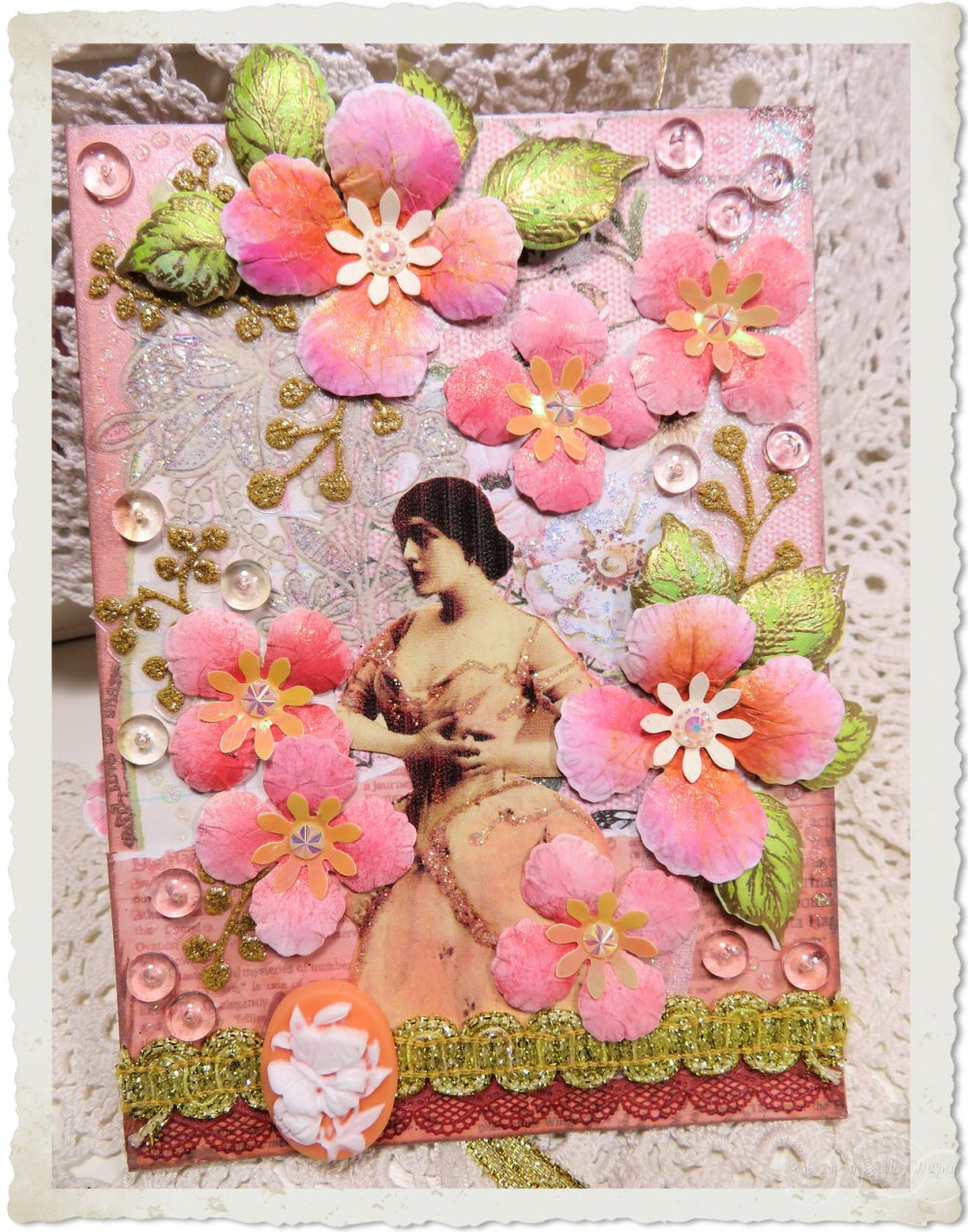 Handmade card with peach Heartfelt Creations flowers from Oakberry Lane series by Ingeborg van Zuiden