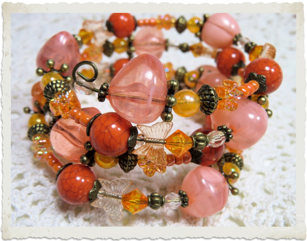 Peach orange bronze beads