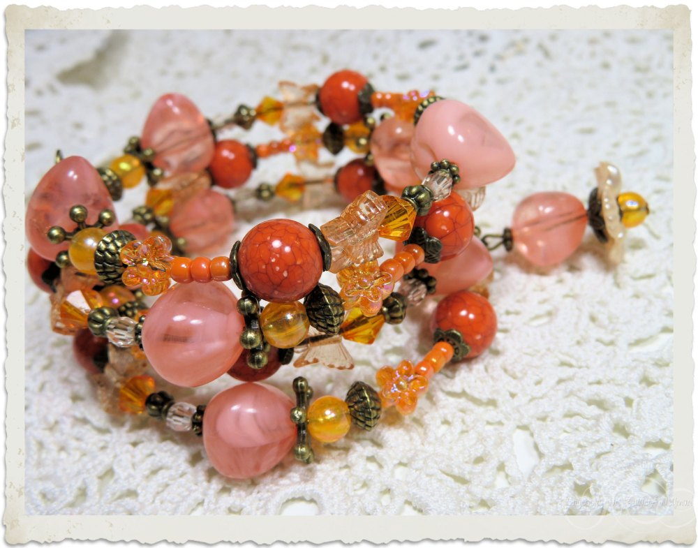 Handmade peach orange memory wire bracelet