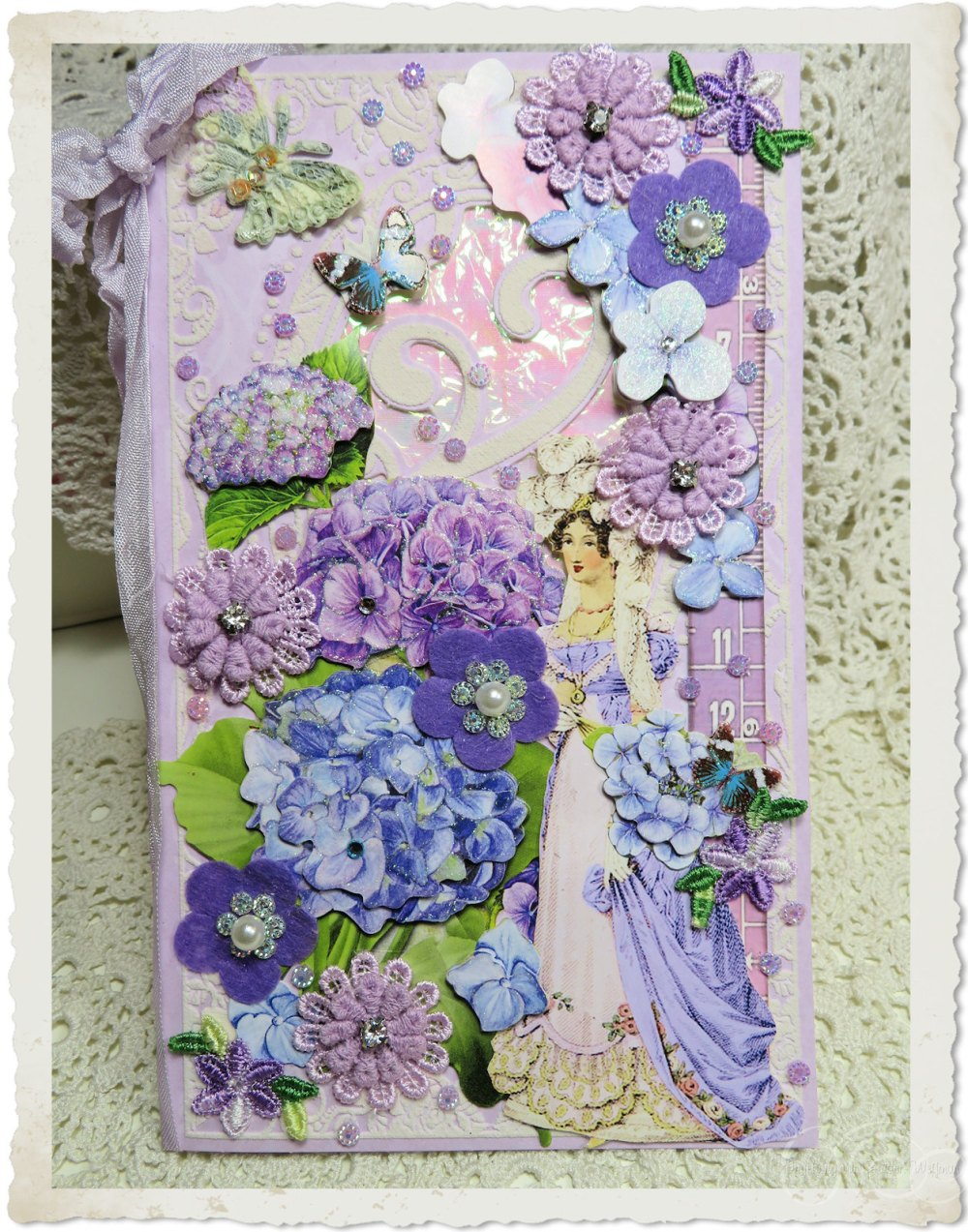Handmade blue purple card by Ingeborg van Zuiden