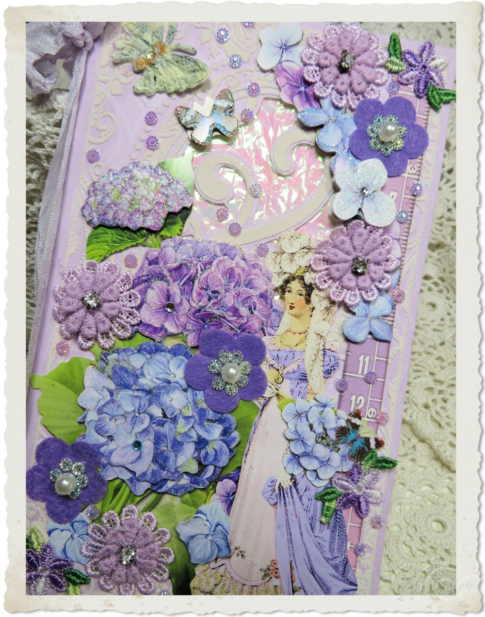 Handmade greeting card with Regency lady and Hydrangea flowers