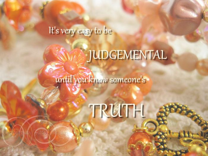 Quote about Truth with orange jewelry art by Ingeborg