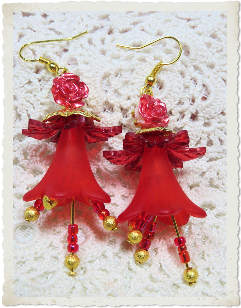 Red gold dancing bells earrings