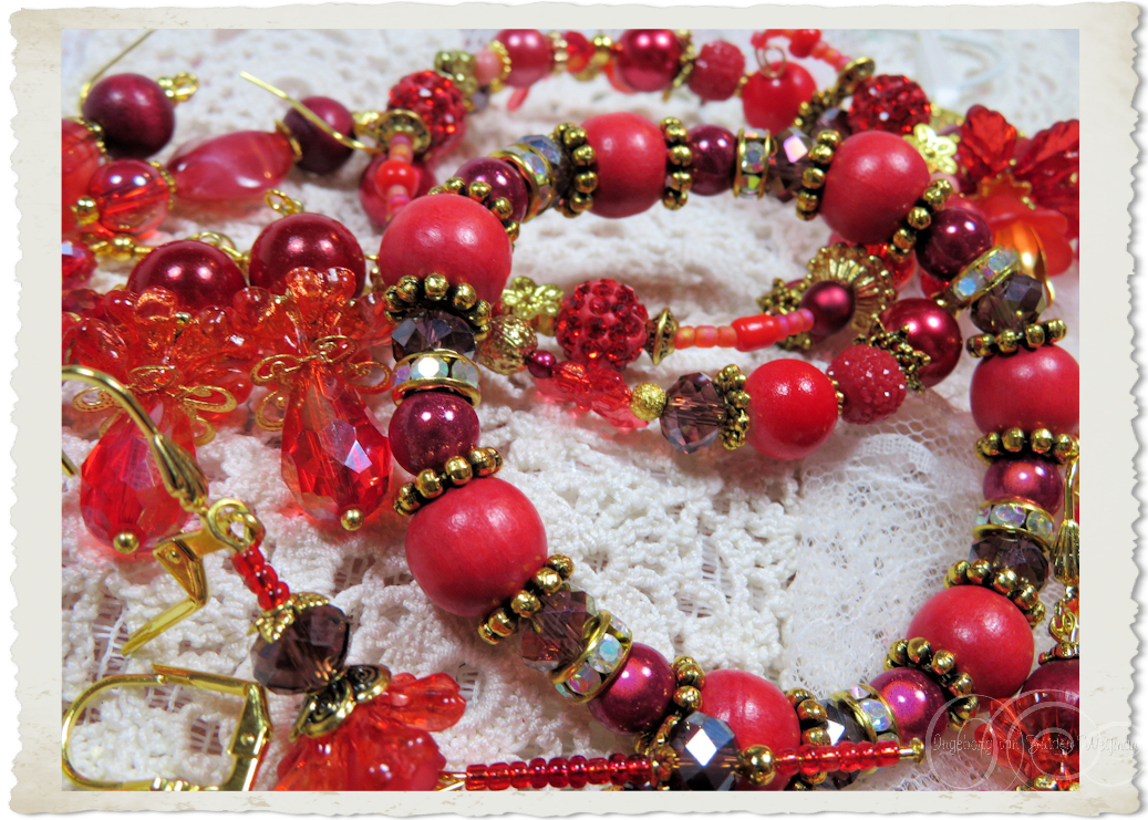 Handmade red coloured jewelry