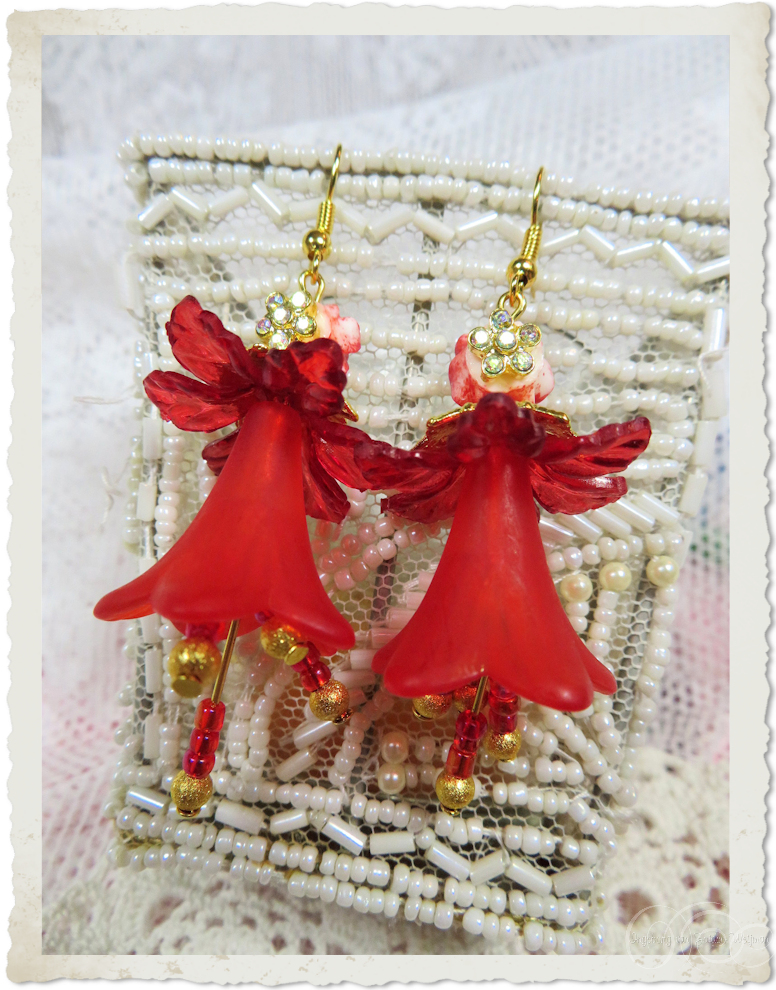 Backside of Red gold dancing bells earrings