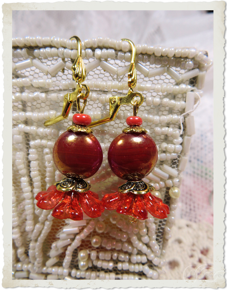 Red gold smartie earrings