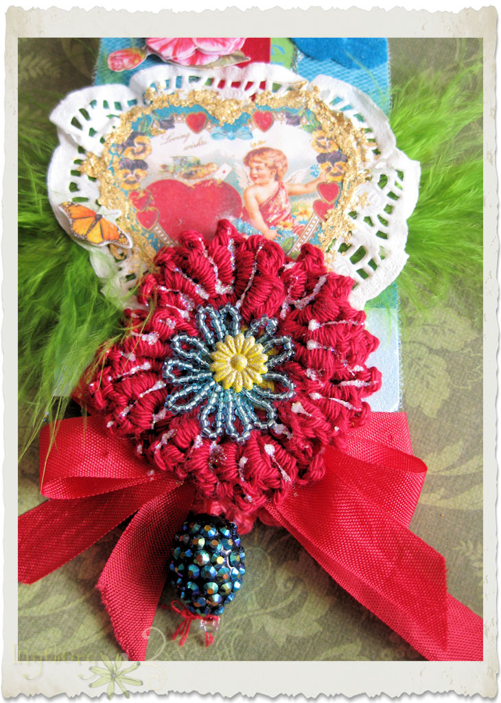 Handmade dark red crochet poppy flower with shamballa bead dangle