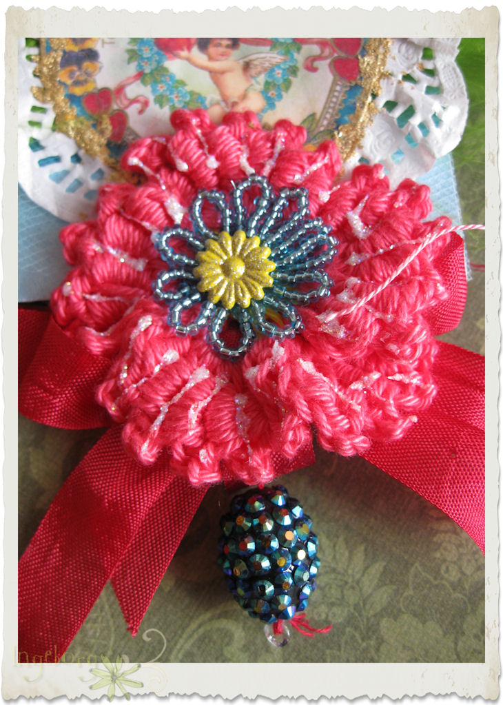 Coral red crochet poppy dangle