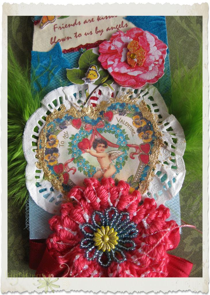 Valentine's day tag with crochet poppy flower