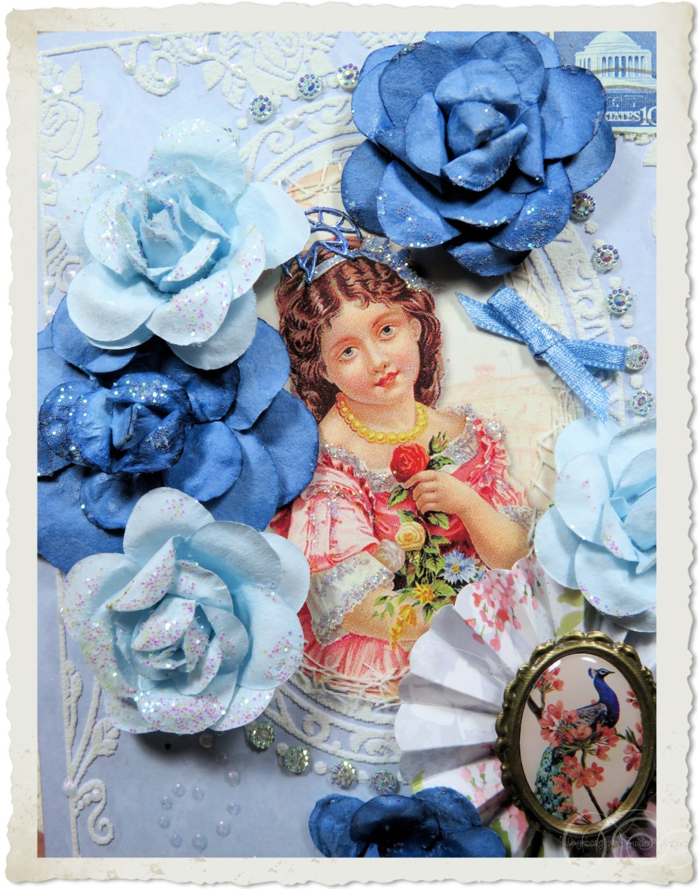 Details of blue roses and fairy girl