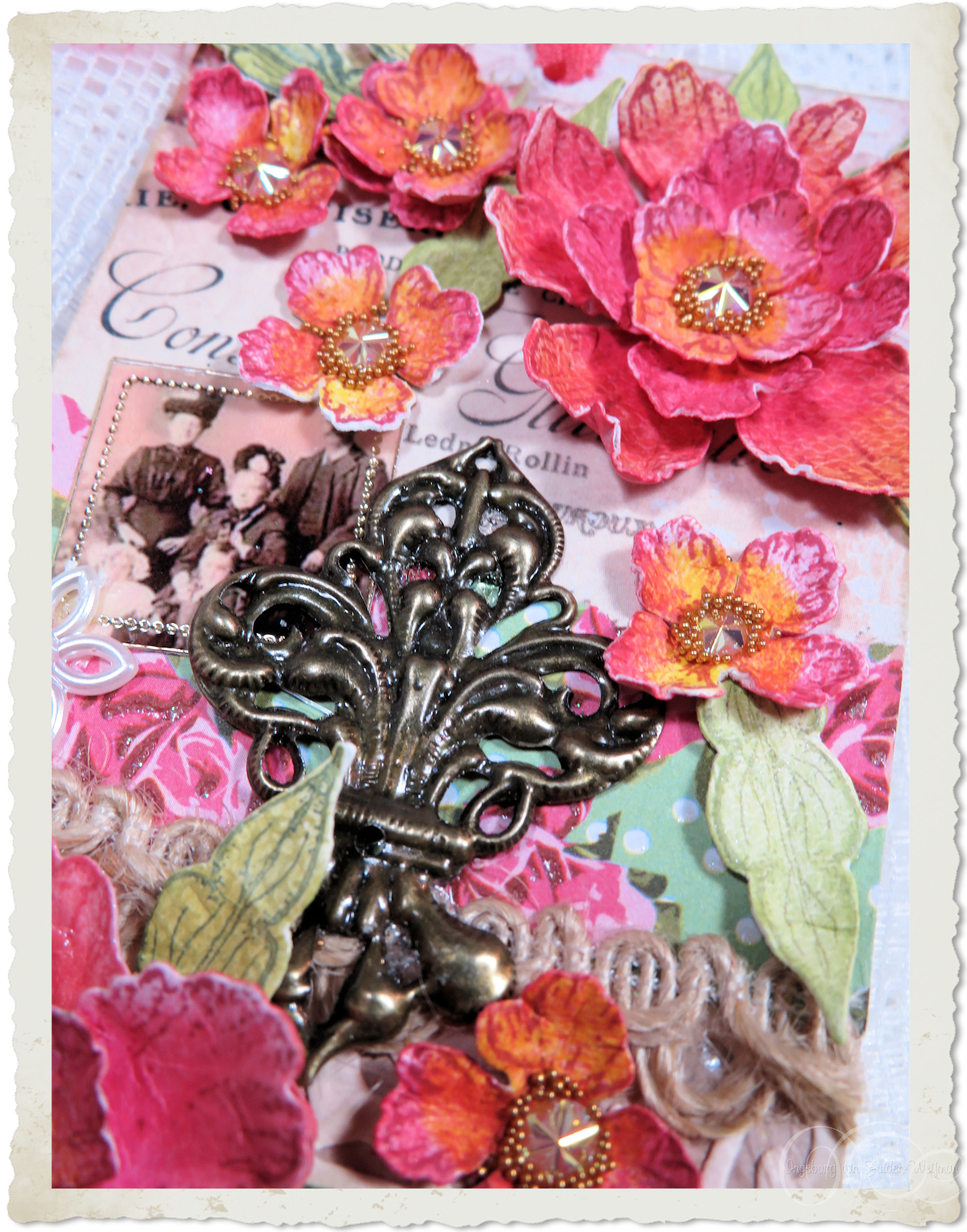 Details of heartfelt creations peony flowers on handmade paper tag