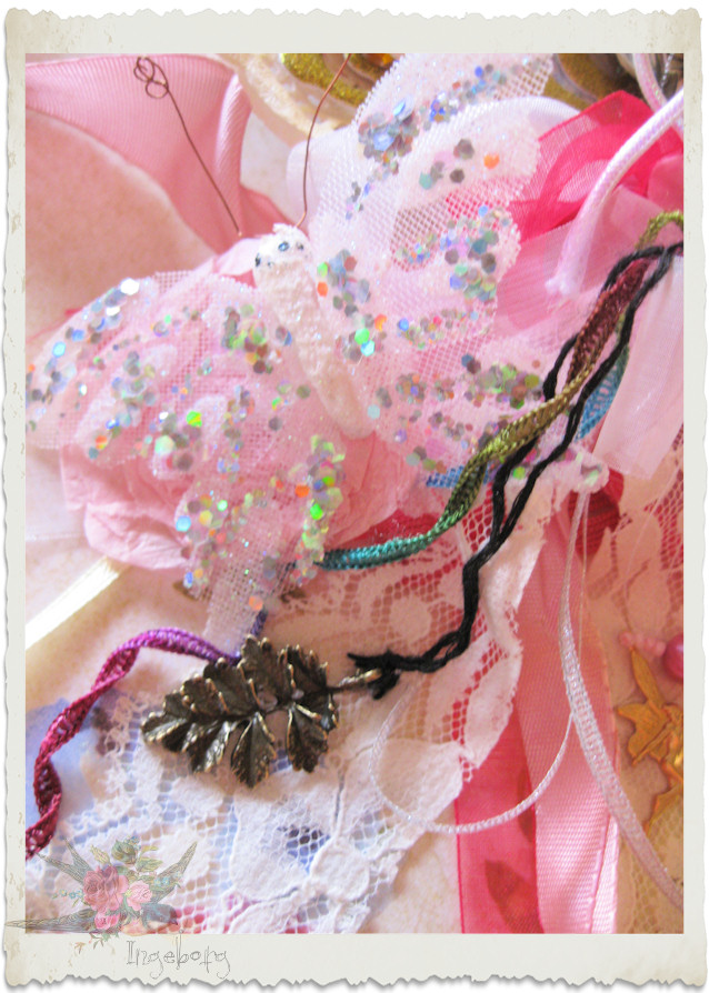 Glitter butterfly and leaf charm dangle