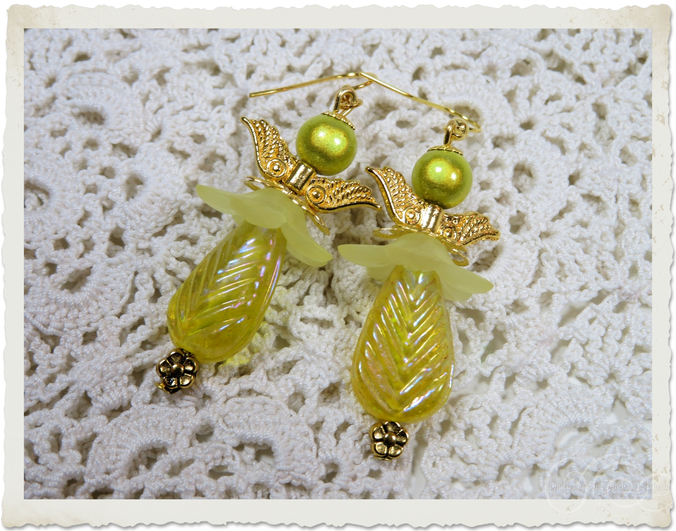 AB shiny angel earrings