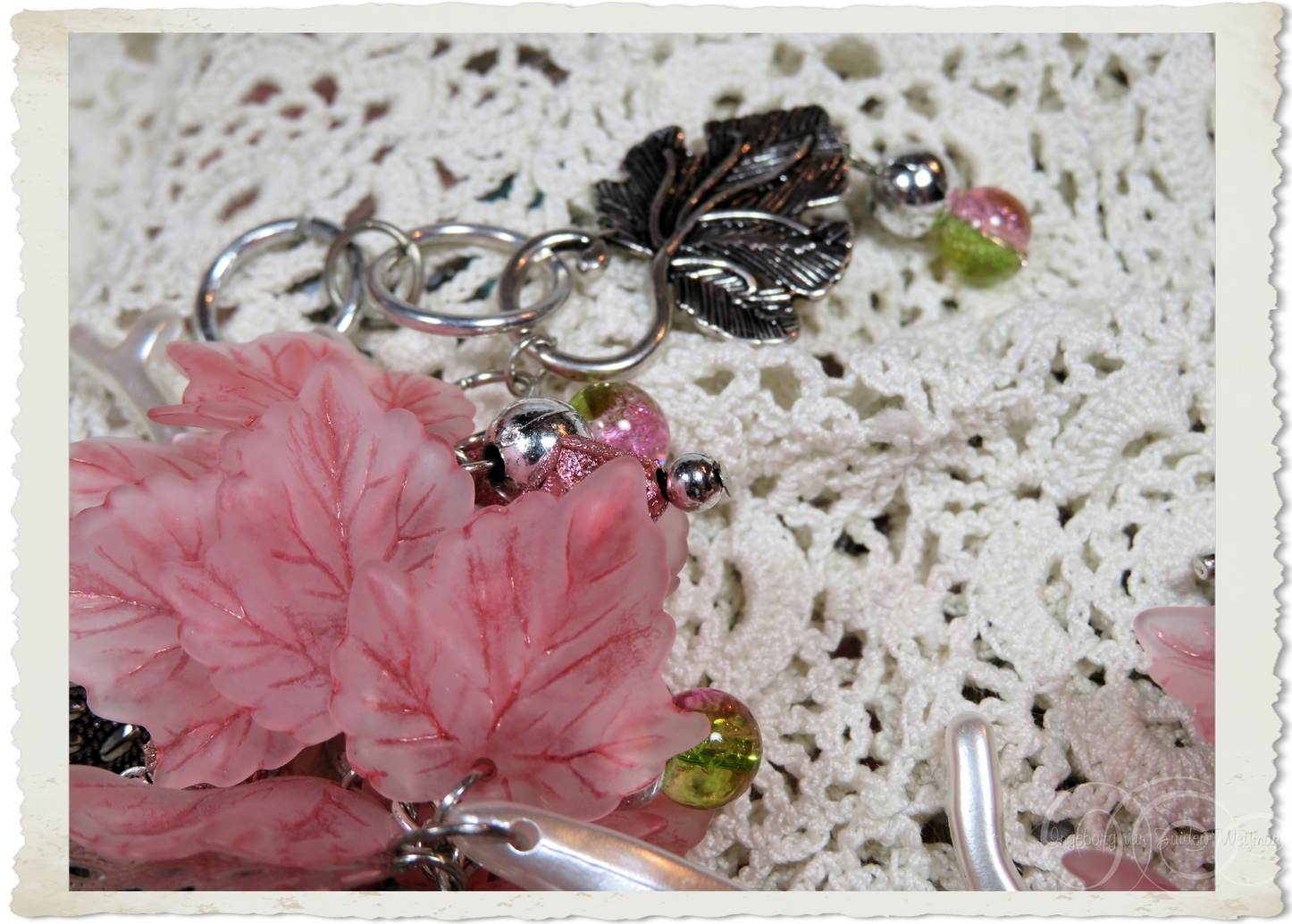 Details of silver leaf beads