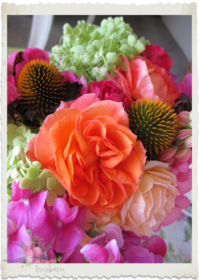Pink and orange bouquet from the garden