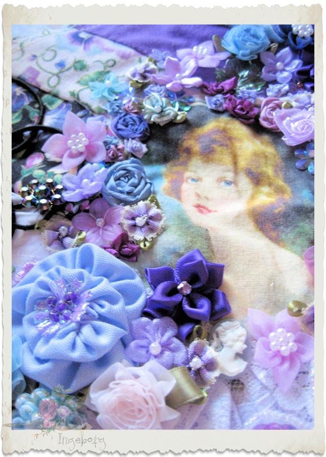 Purple flower embroidery by Ingeborg