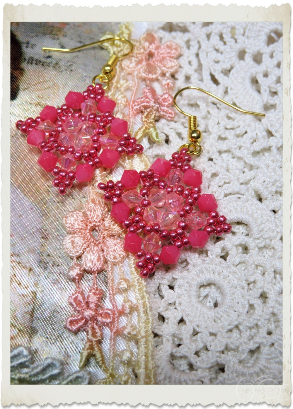 Pink bicone earrings