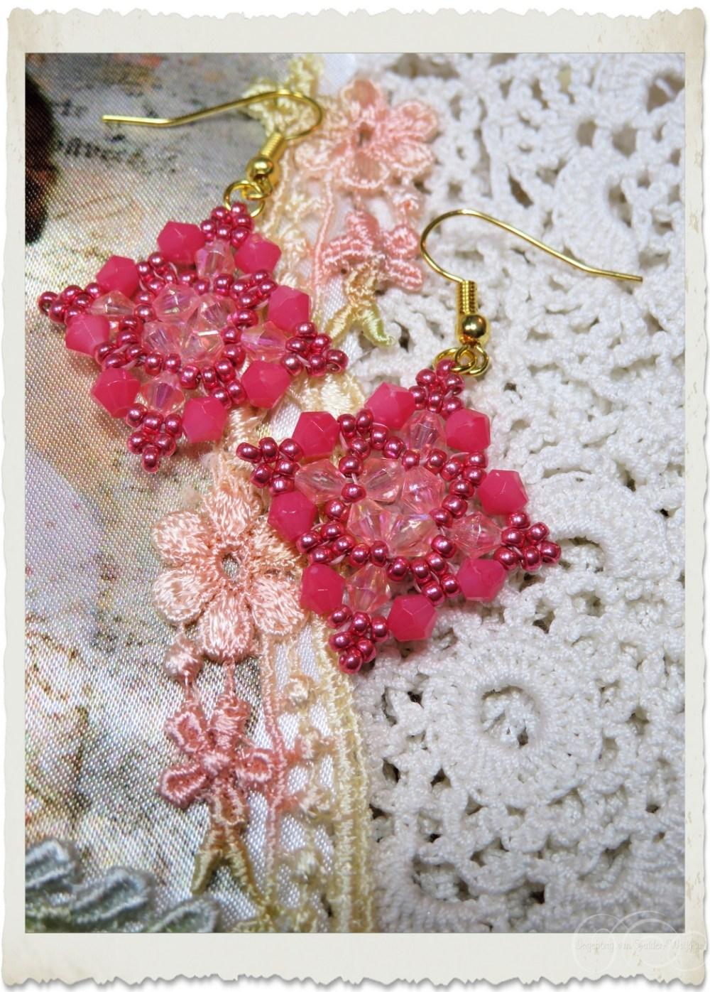 Pink bicone earrings
