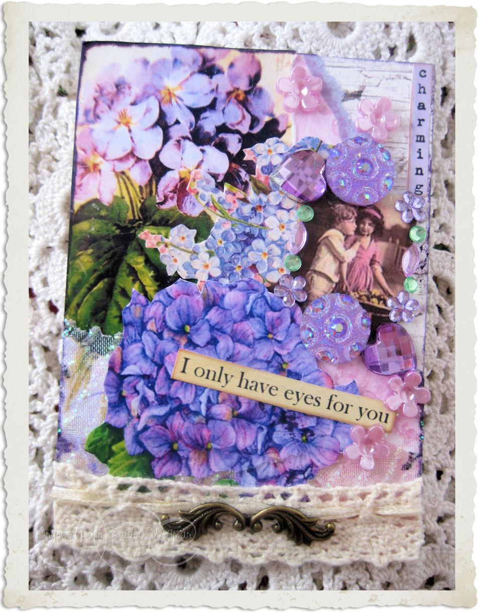 Purple ATC ACEO card with hydrangea by Ingeborg van Zuiden