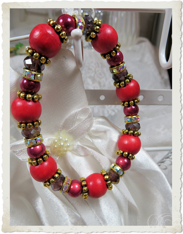 Handmade red gold bracelet with miracle beads