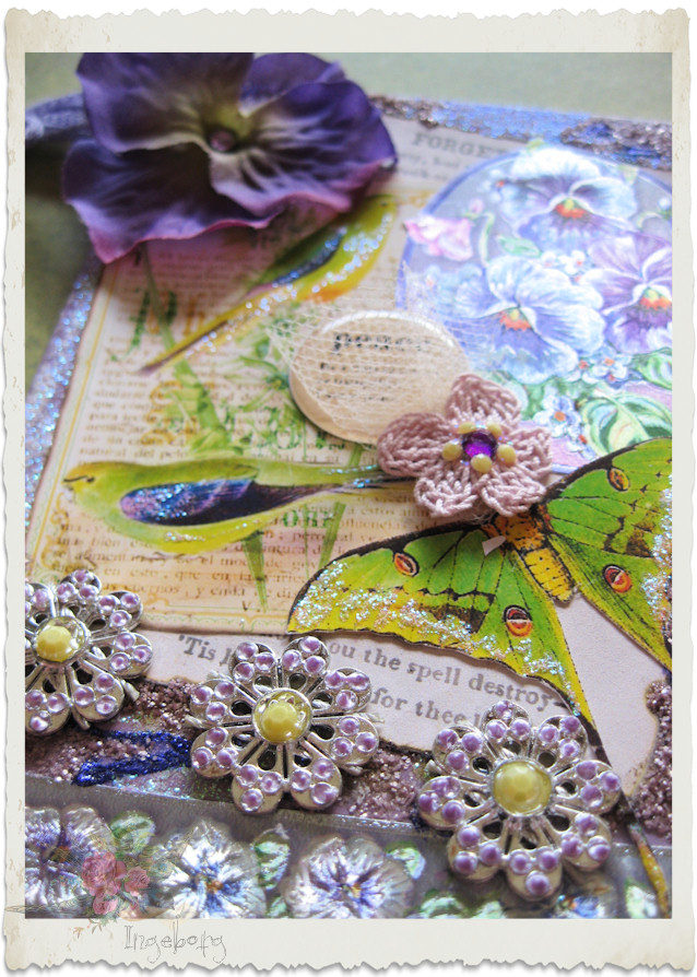 Details of pansy bird card