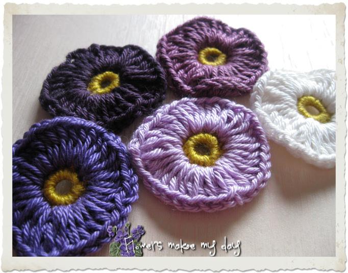 Purple crochet flowers
