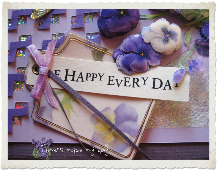 Wordart in purple be happy every day