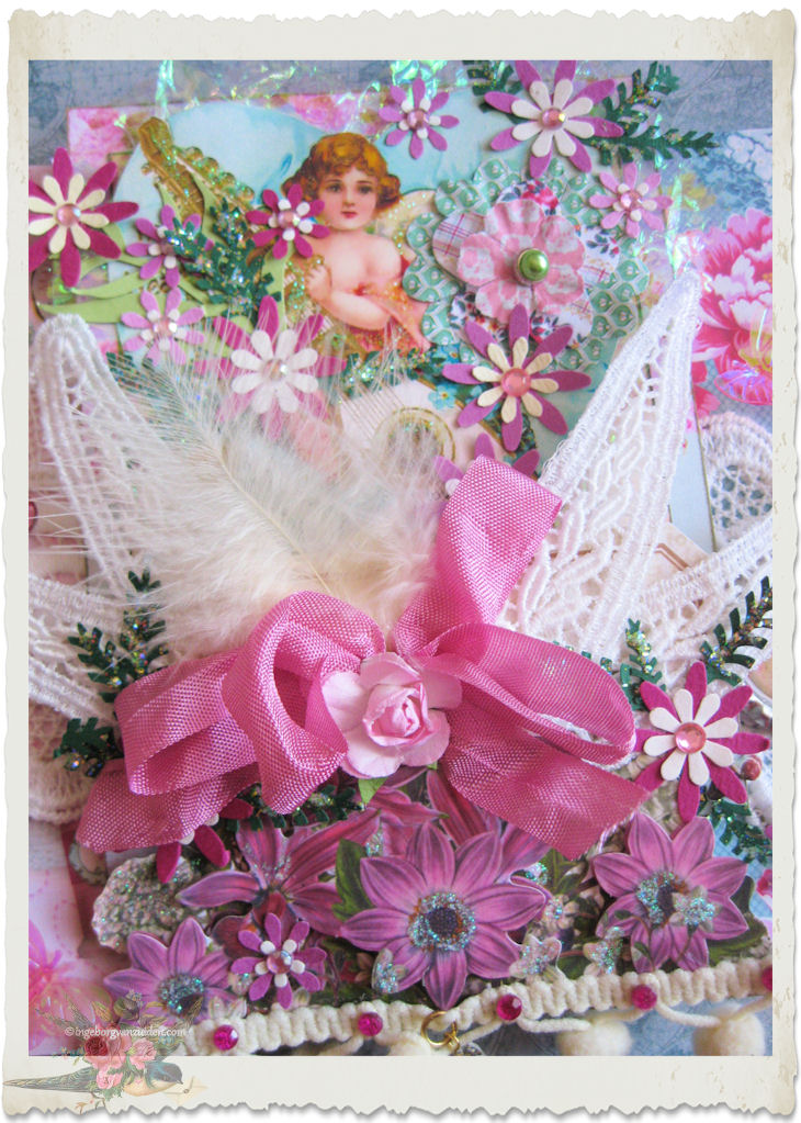 pink turquoise angel page details with ribbon and lace