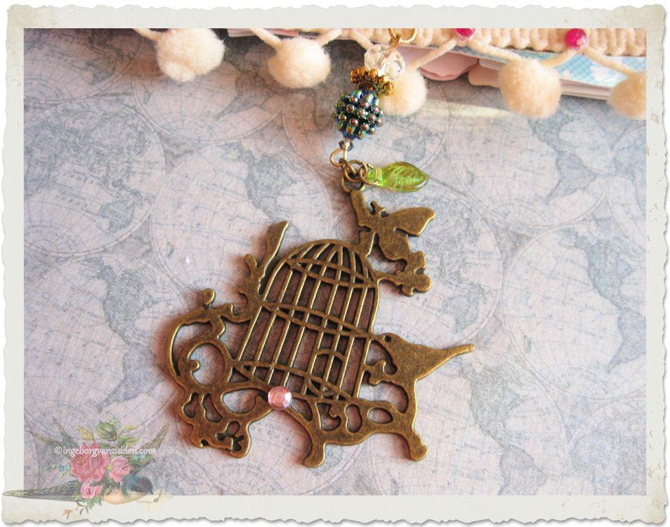 Bronze birdcage charm hanger