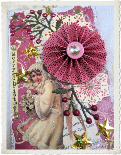 Handmade vintage style Christmas tag with snow fairy and berries by Ingeborg van Zuiden