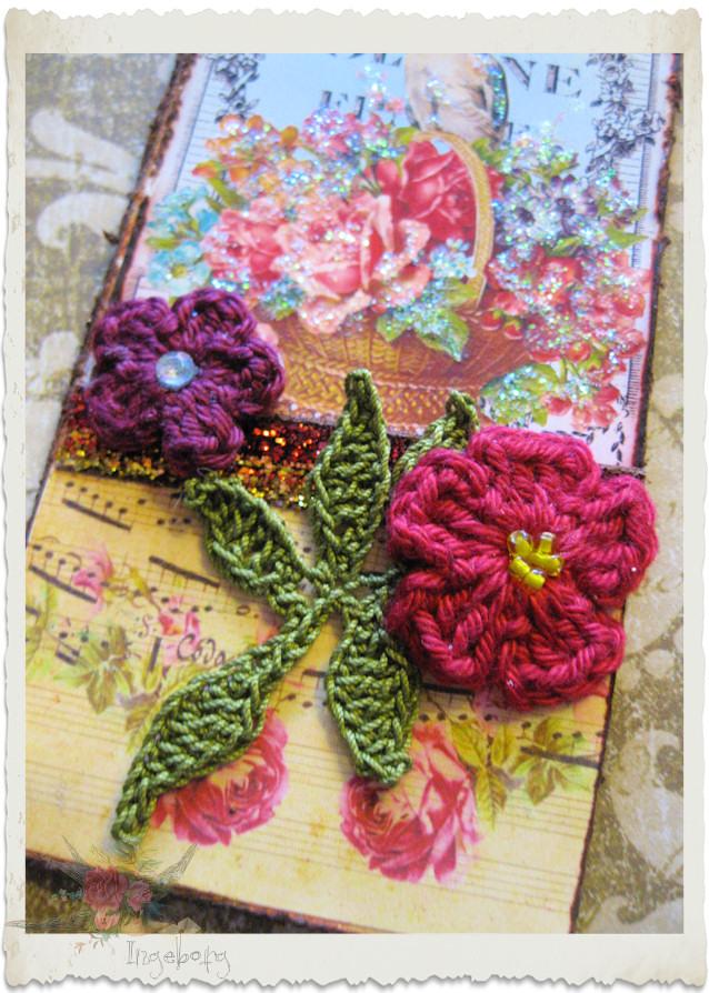 Red crochet flowers