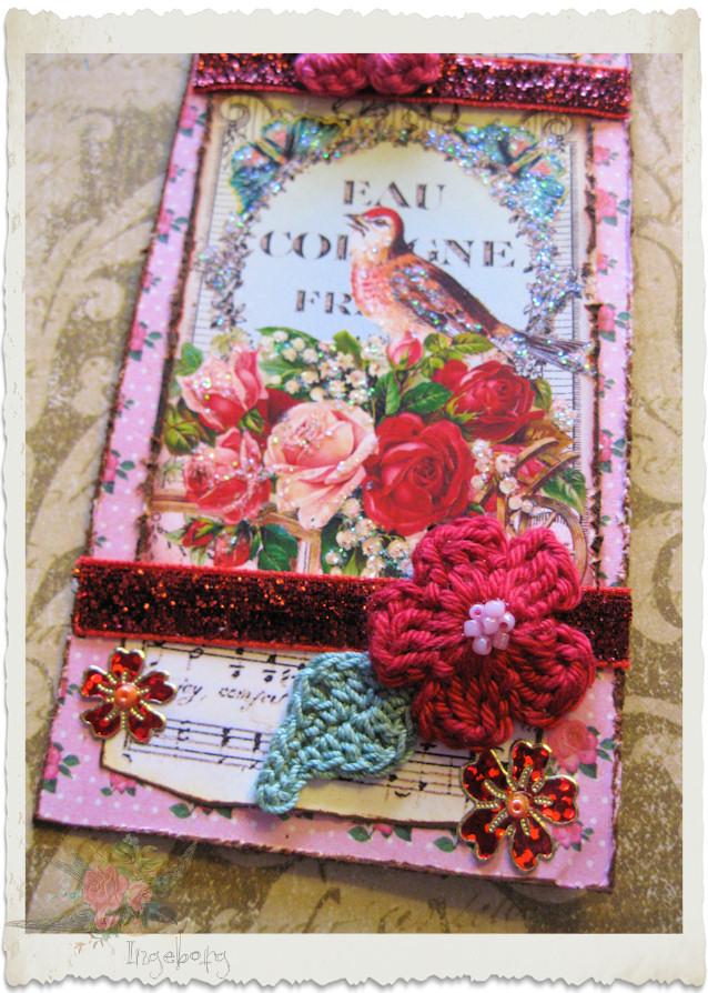 Vintage bird and crochet flower