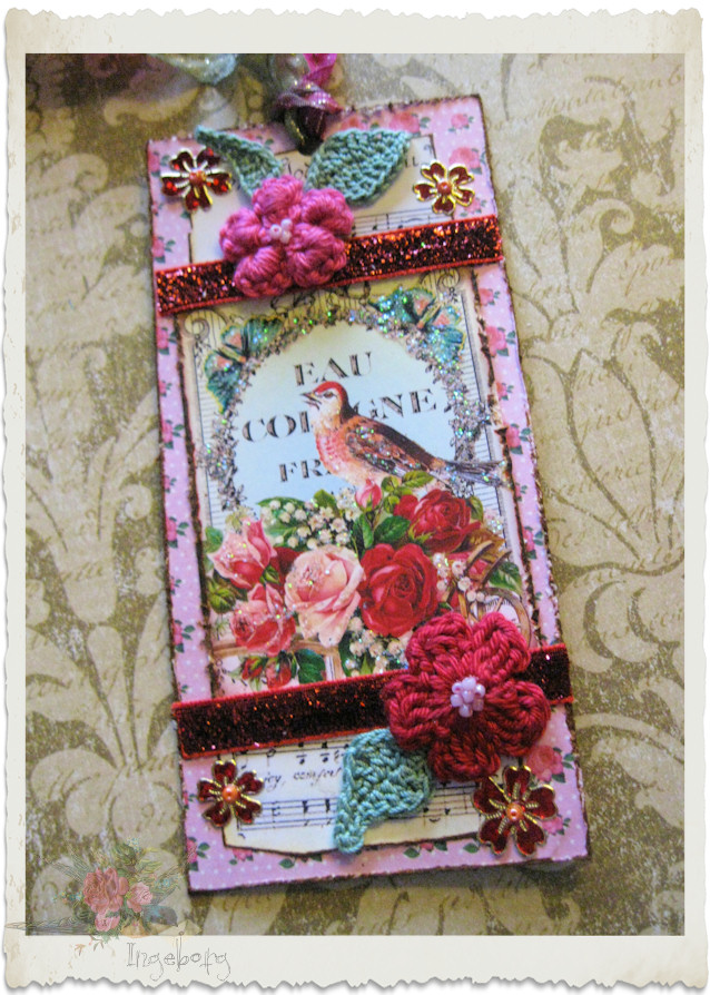 Handmade bookmark with crochet flowers