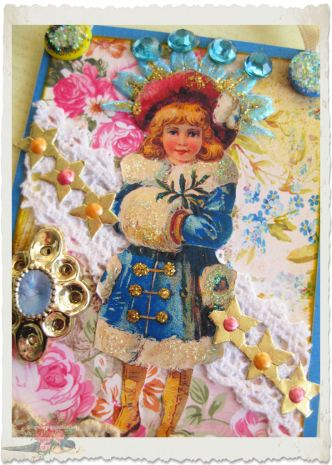 Handmade Artist Trading Card (ATC/ACEO) with winter fairy and Christmas stars