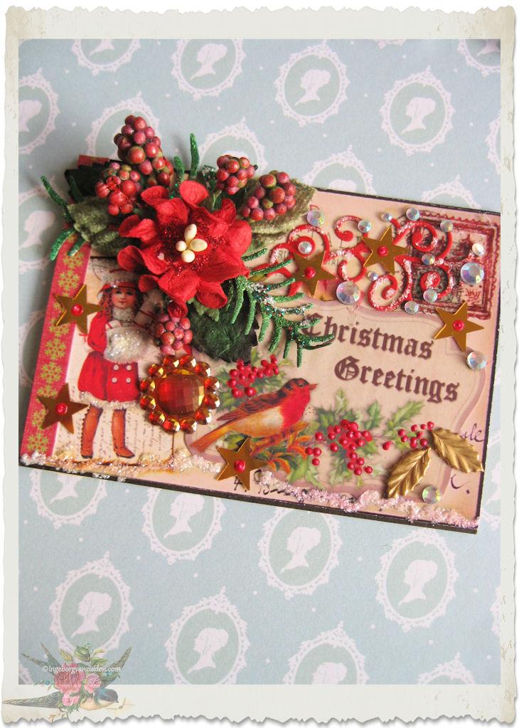Handmade ATC ACEO card with poinsettia and vintage snow girl