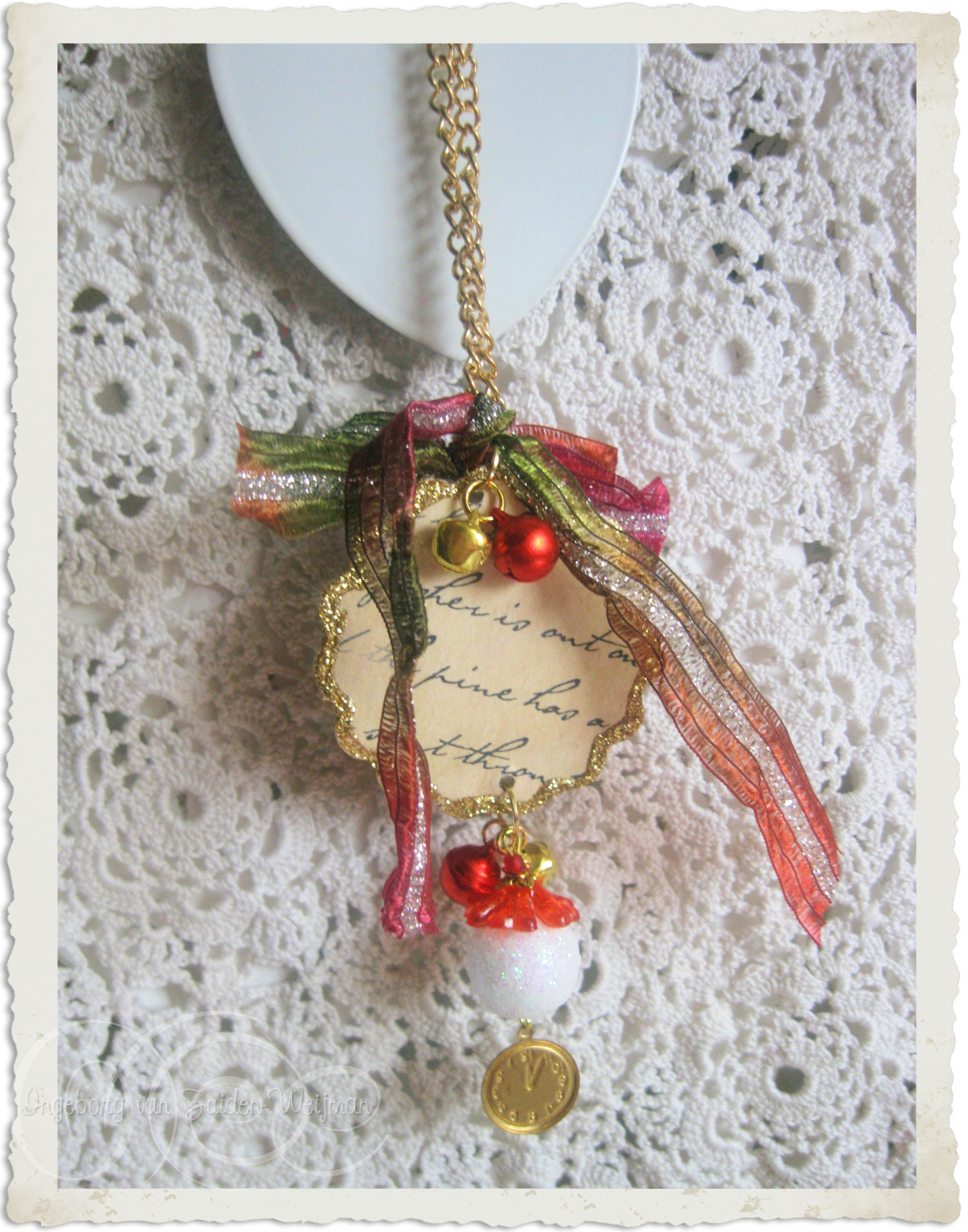 Christmas tree hangers with ribbon and charms