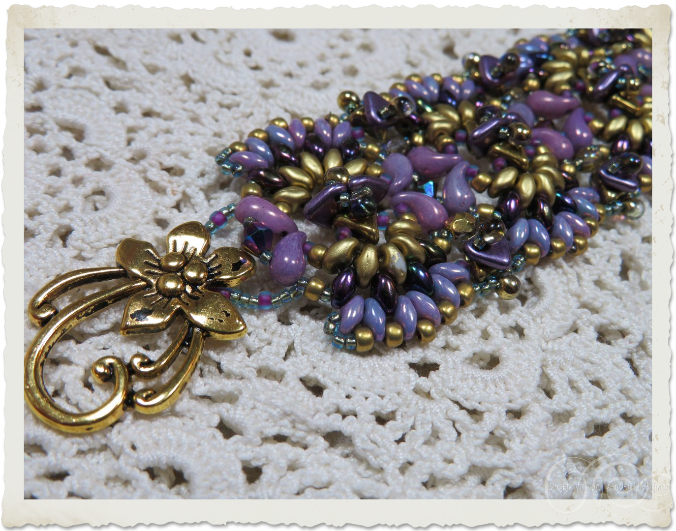 Details of Handmade purple gold bead weaving bracelet with Zoliduo and Superduo beads