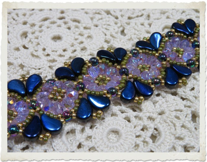 Handmade beadweaving bracelet with Czech crystals and Paisley duo beads by Ingeborg van Zuiden