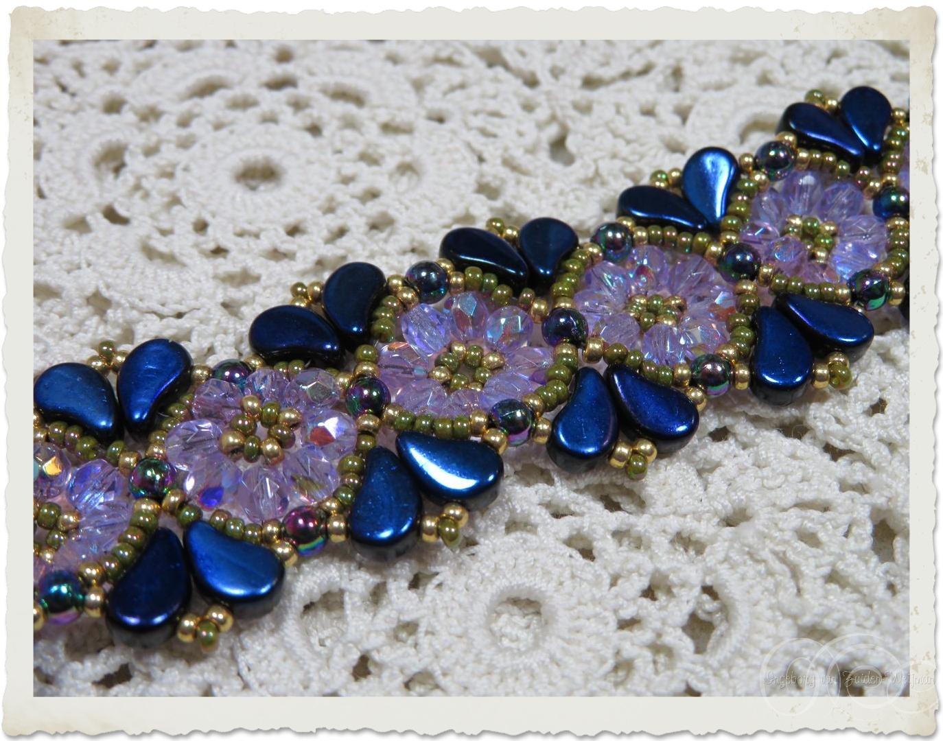 Handmade beadweaving bracelet with Czech crystals and Paisley duo beads by Ingeborg van Zuiden