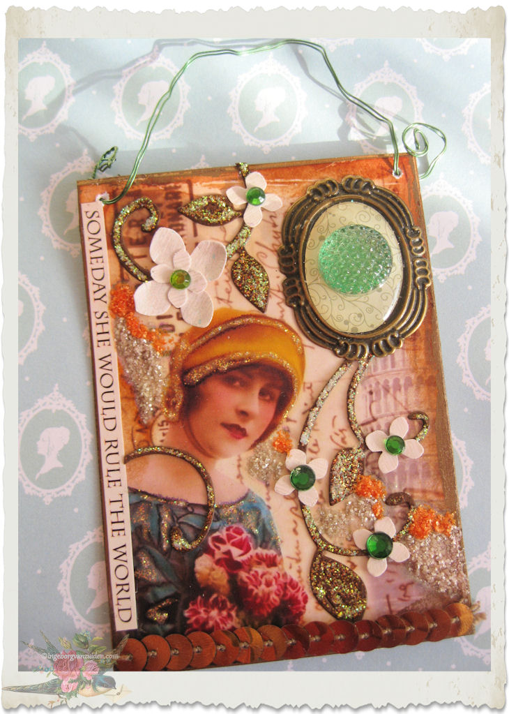 Handmade ATC ACEO card with vintage lady