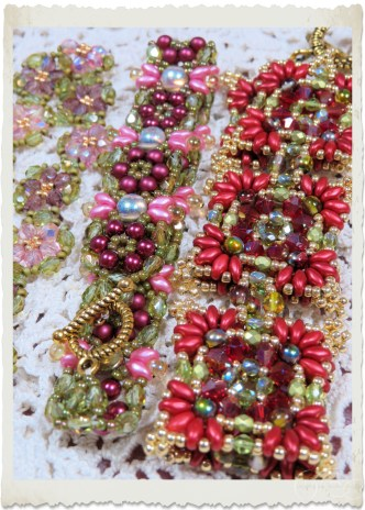 handmade bead weaving bracelets with superduo, czech crystals, AB cabochon beads, seed beads, pearls and cabochon beads